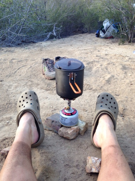 Boiling water for rehydration. The soto od-1r stove is super fast