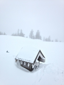 Summer bathroom cabin buried in snow