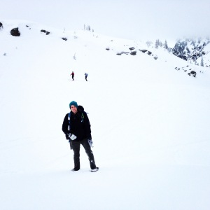 Tyler on his way up a snow hill