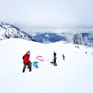 Ski parachuters!