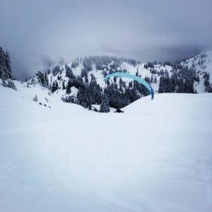 Ski parachuting in action