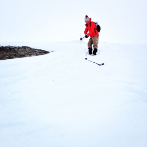 Jared making his way down a snow hill