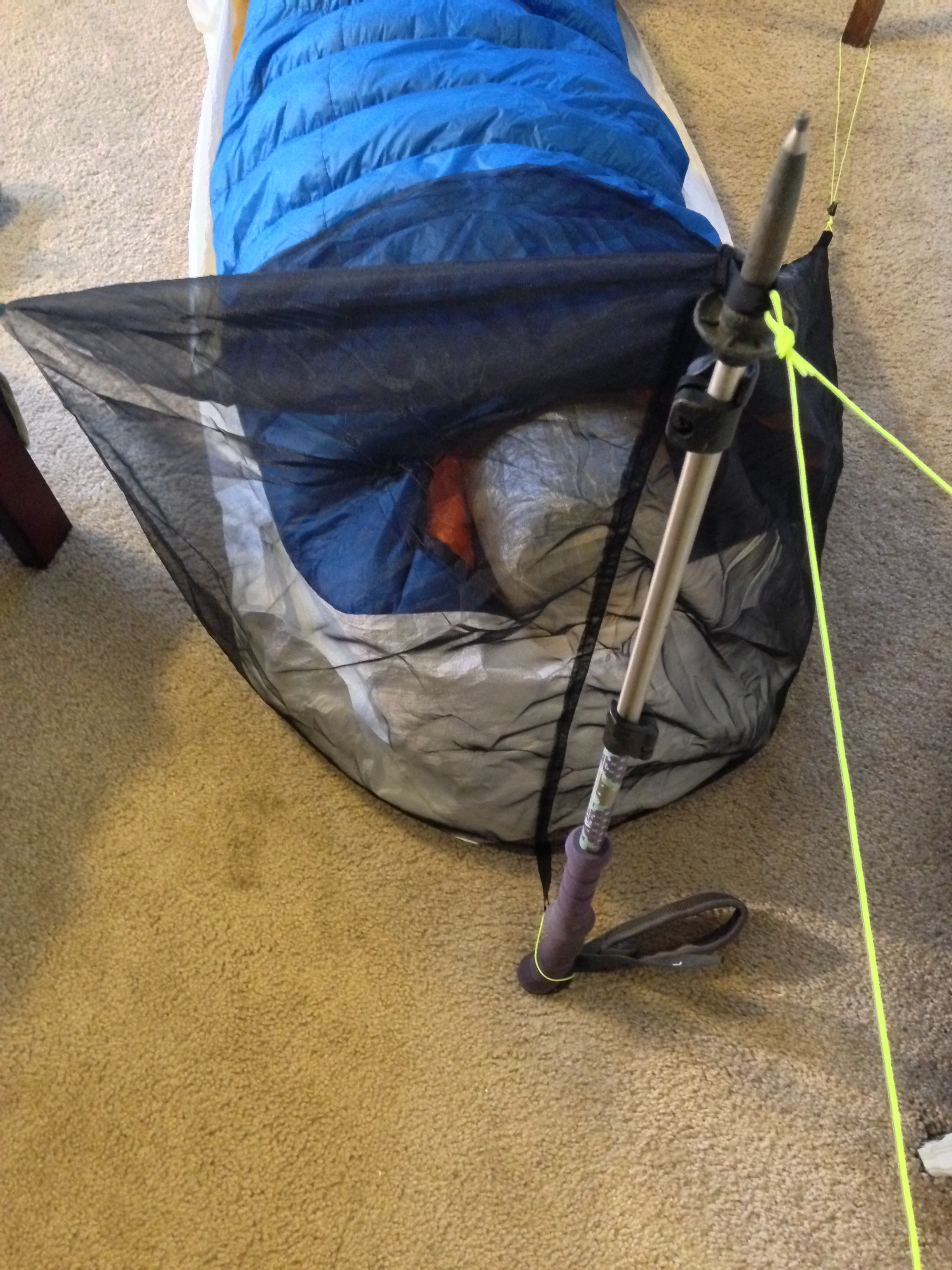 Tiny bug tent viewed from above. Trekking pole functions as tent pole & MYOG No. 3 u2013 Tiny Torso Bug Tent | Northbound