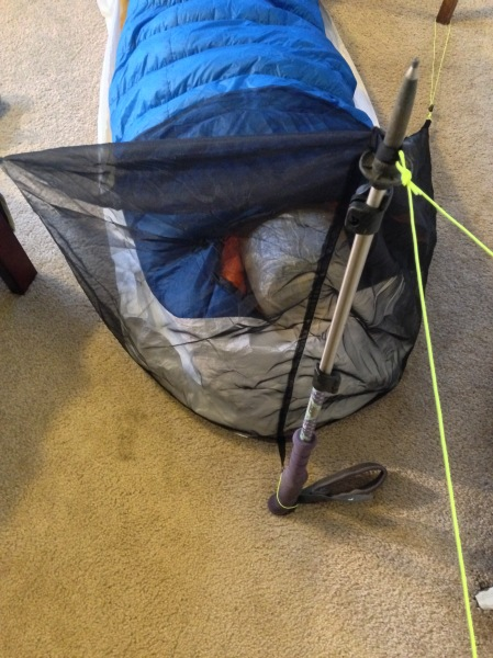 Tiny bug tent viewed from above. Trekking pole functions as tent pole