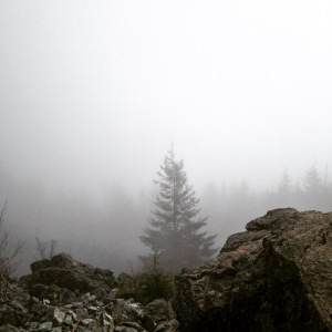 Clouds surround the summit