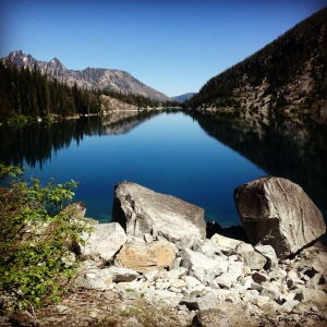Colchuck Lake from the Aasgard Pass side. Still and blue