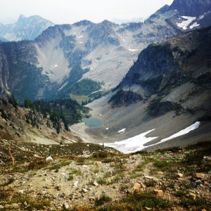 Just over Maple Pass. Cute lil' cirque and teeny snow field