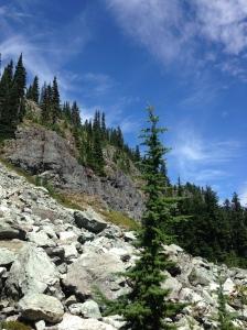 Climbing above Rachel Lake