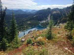 Looking down on Lila Lake
