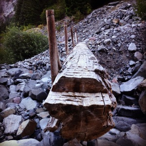 Log crossing by the Carbon Glacier