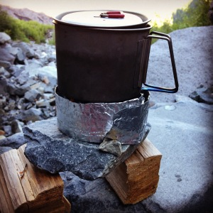Making my coffee and admiring the glacier at sunrise