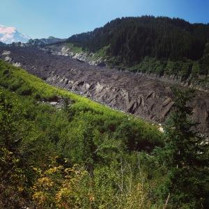Carbon glacier blanketed in debris