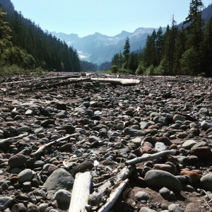 Crossing the South Mowich riverbed