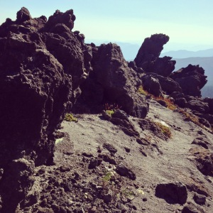 Jagged volcanic formations